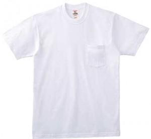 ホワイトのポケット付きTシャツ