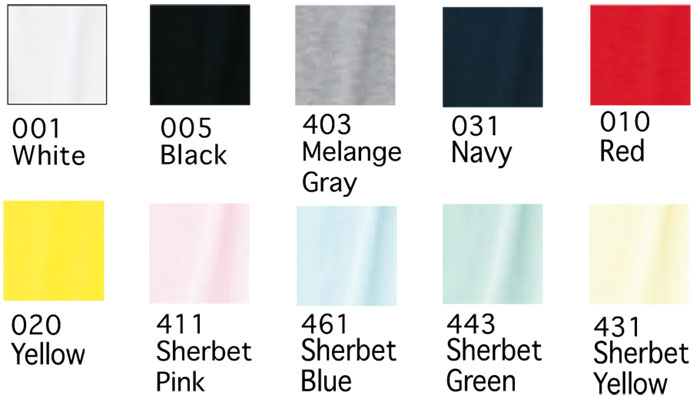 4.1オンス薄手レディスラウンドネックTシャツの色見本