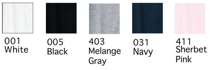 4.1オンス薄手レディス長袖Tシャツの色見本