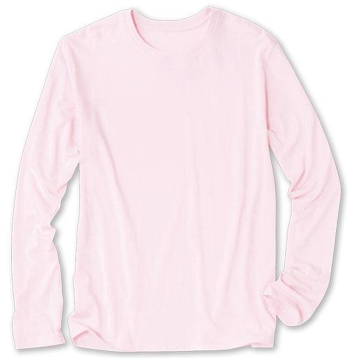 シャーベットピンクの長袖レディスTシャツ