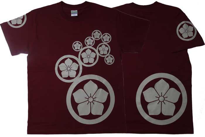 丸に桔梗の家紋Tシャツ