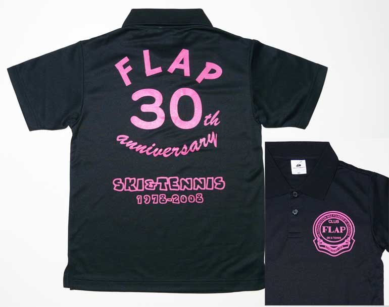 ショッキングピンクのプリントポロシャツ