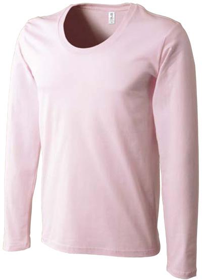 コーマ糸使用のU首長袖Tシャツのフロストピンクの写真