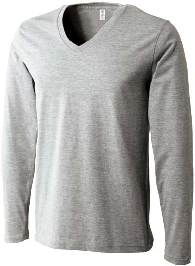 ヘザーグレーの Vネック長袖Tシャツ