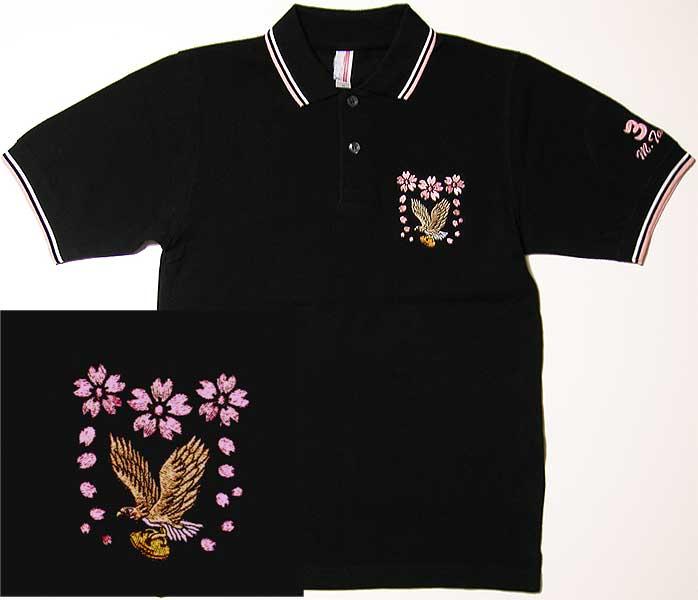 桜と鷹とラグビーボールの刺繍ポロシャツ
