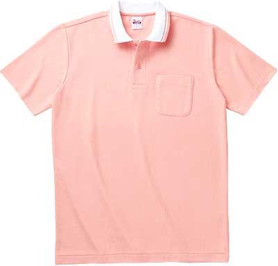 ピンクホワイトのクレリックポロ