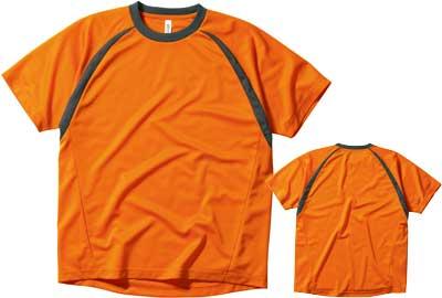 オレンジの切替ラグランTシャツ