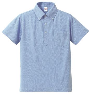 OXブルーのボタンダウンポロシャツ