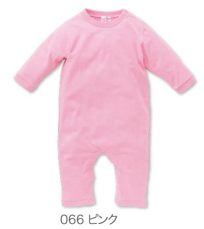 ピンクの長袖ロンパース