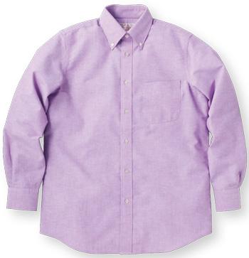 パープルの長袖オックスシャツ