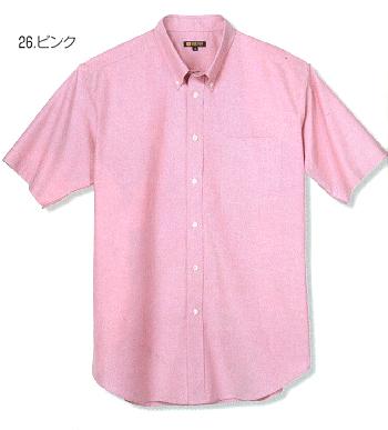 ピンクの半袖オックスシャツ