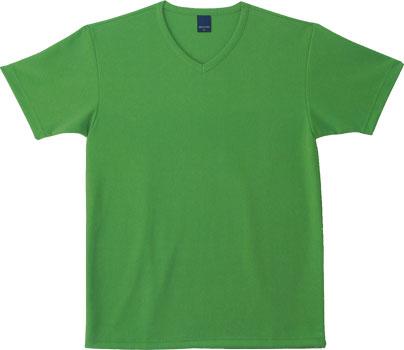 グリーンのVネックTシャツ