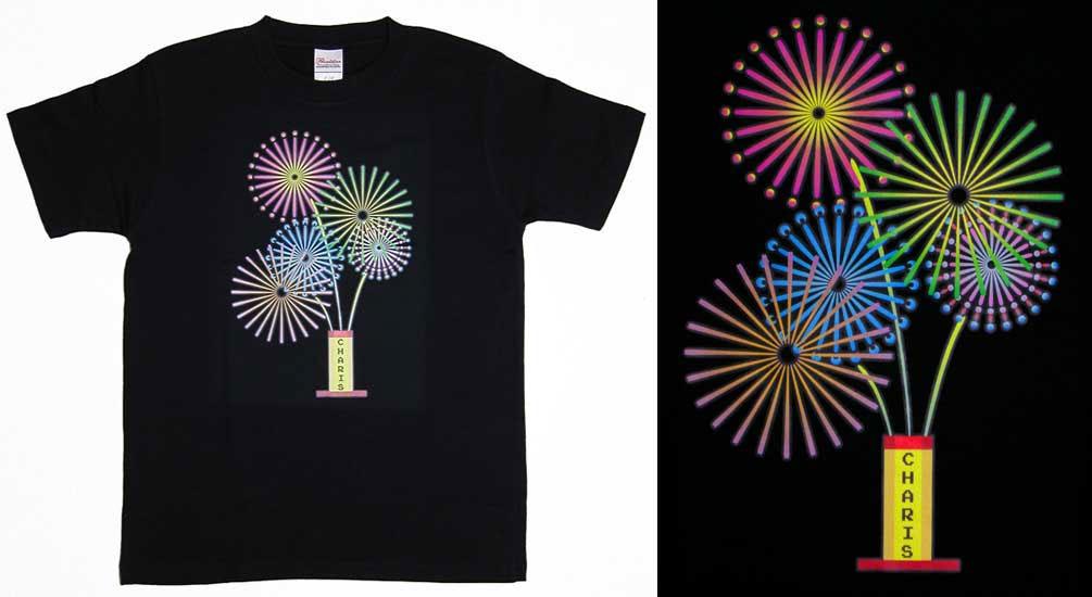 転写プリントで花火をデザインしたオリジナルTシャツ