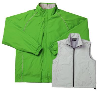 グリーンの中綿キルトベスト付きジャケット