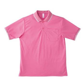 ピンクのライン入りドライポロ