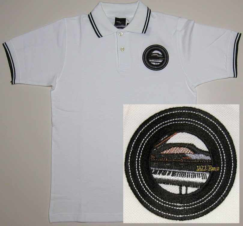 ピアノモチーフのワッペン刺繍のオリジナルポロシャツ