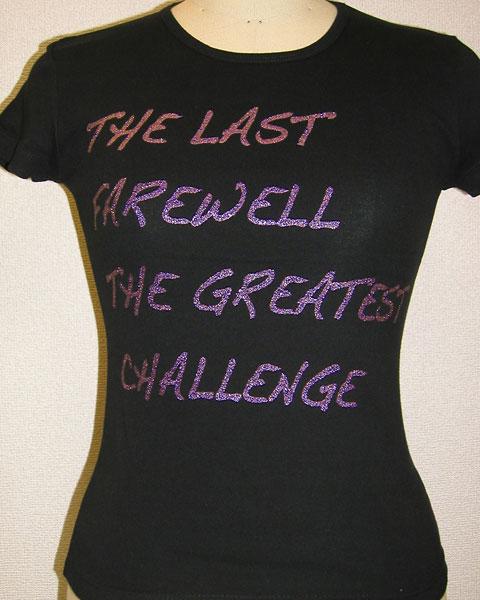 パープルのグリッタープリントTシャツ