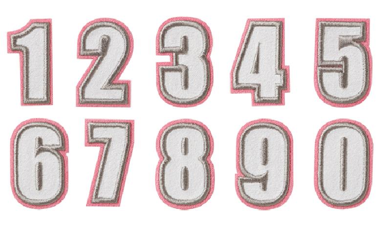ピンクフェルト縁にグレー刺繍内側白フェルト