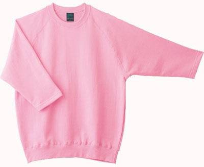 ピンクの7分袖トレーナー