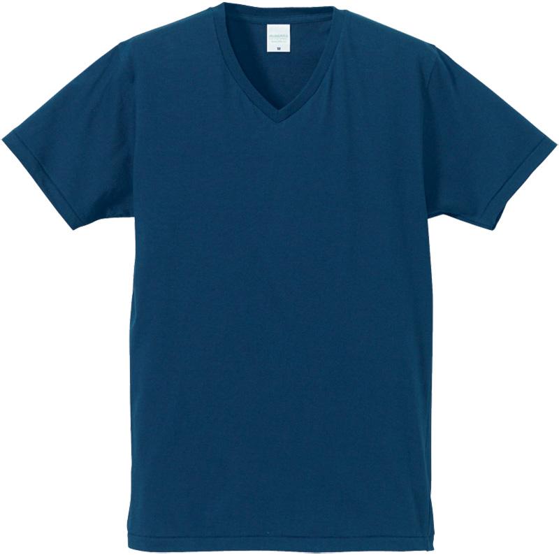 デニム色のやわらかVネックTシャツ