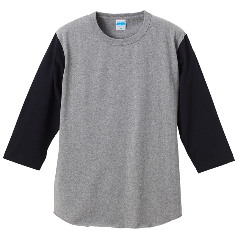 7分袖切り替えTシャツミックスグレー/ブラック