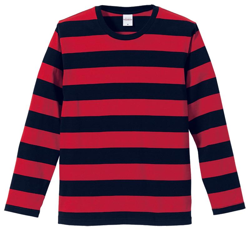 ブラック/レッドのボーダー長袖Tシャツ