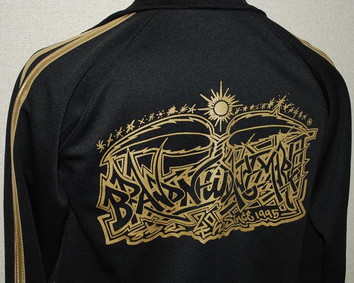 ゴールド金粉プリントのジャージジャケット